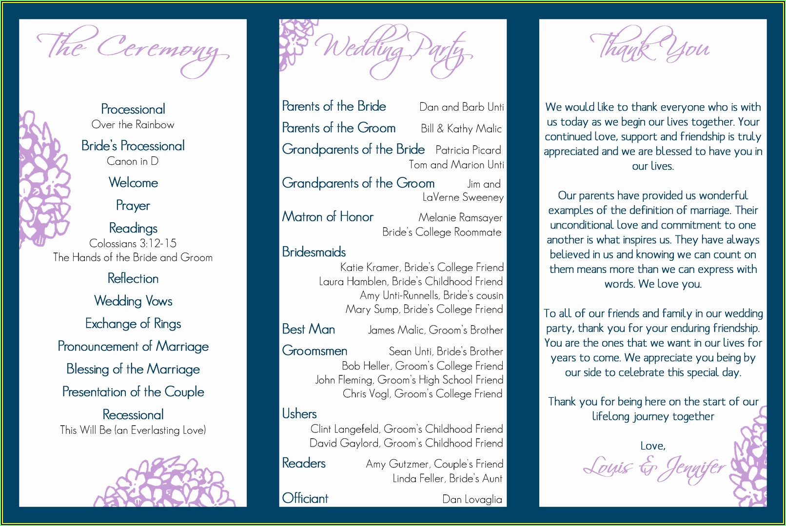 Printable Wedding Program Templates Free