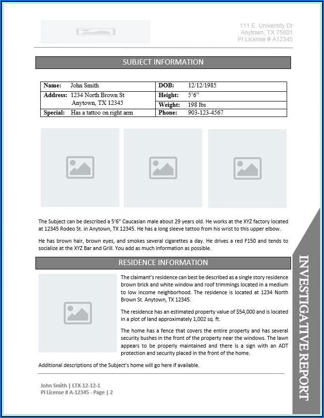 Private Investigator Form Templates