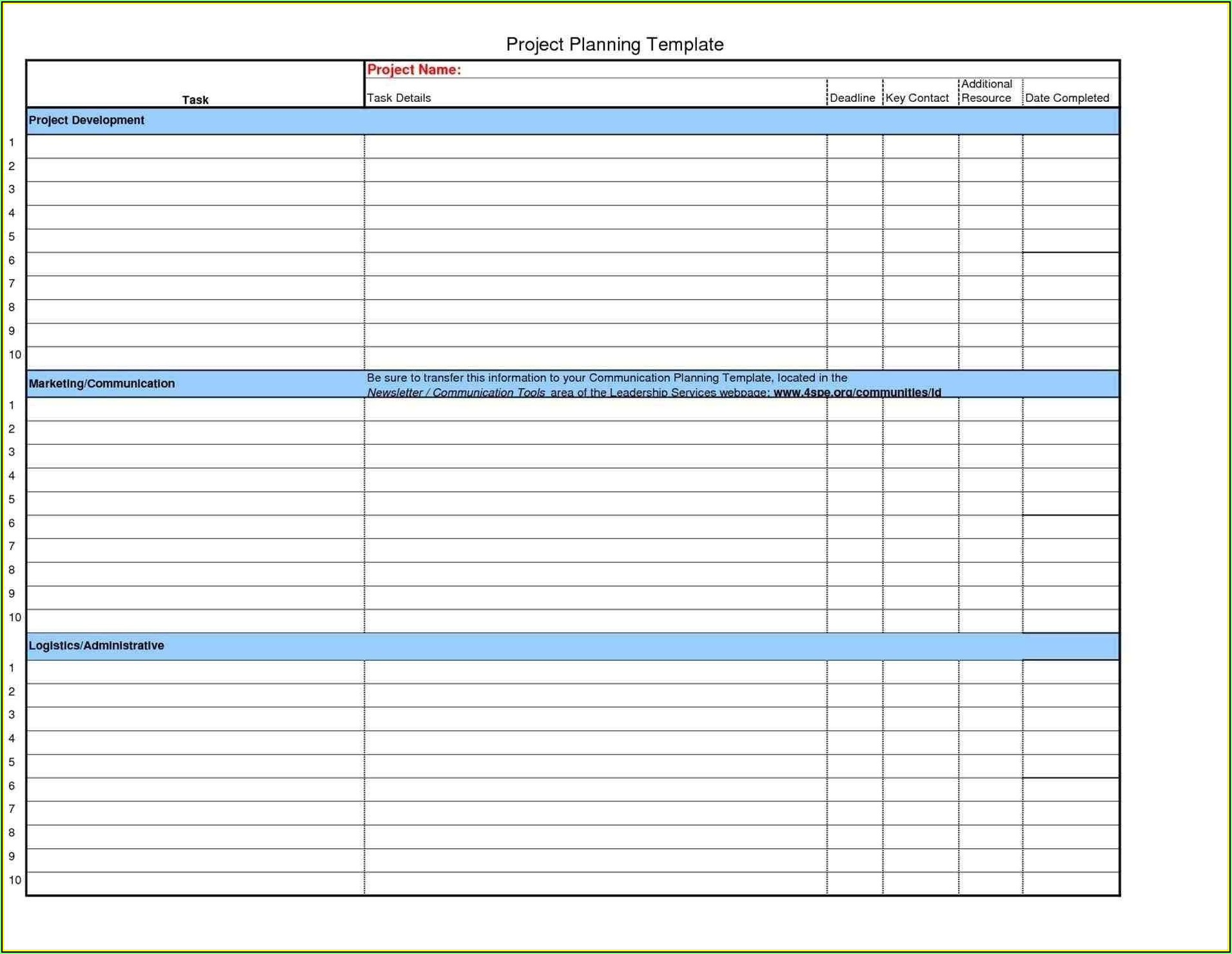 Project Planner Template Excel Free Download
