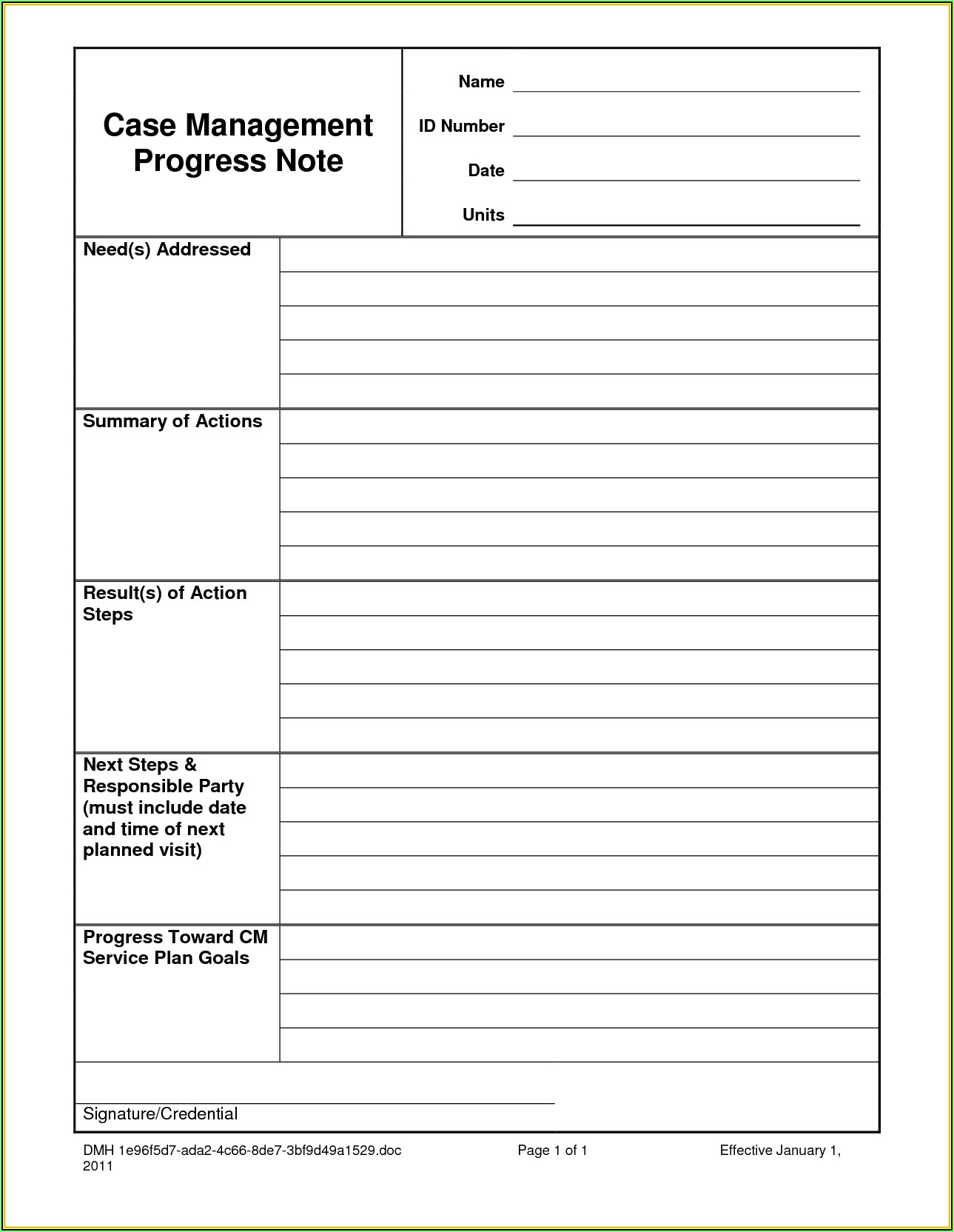 Psychotherapy Case Notes Template