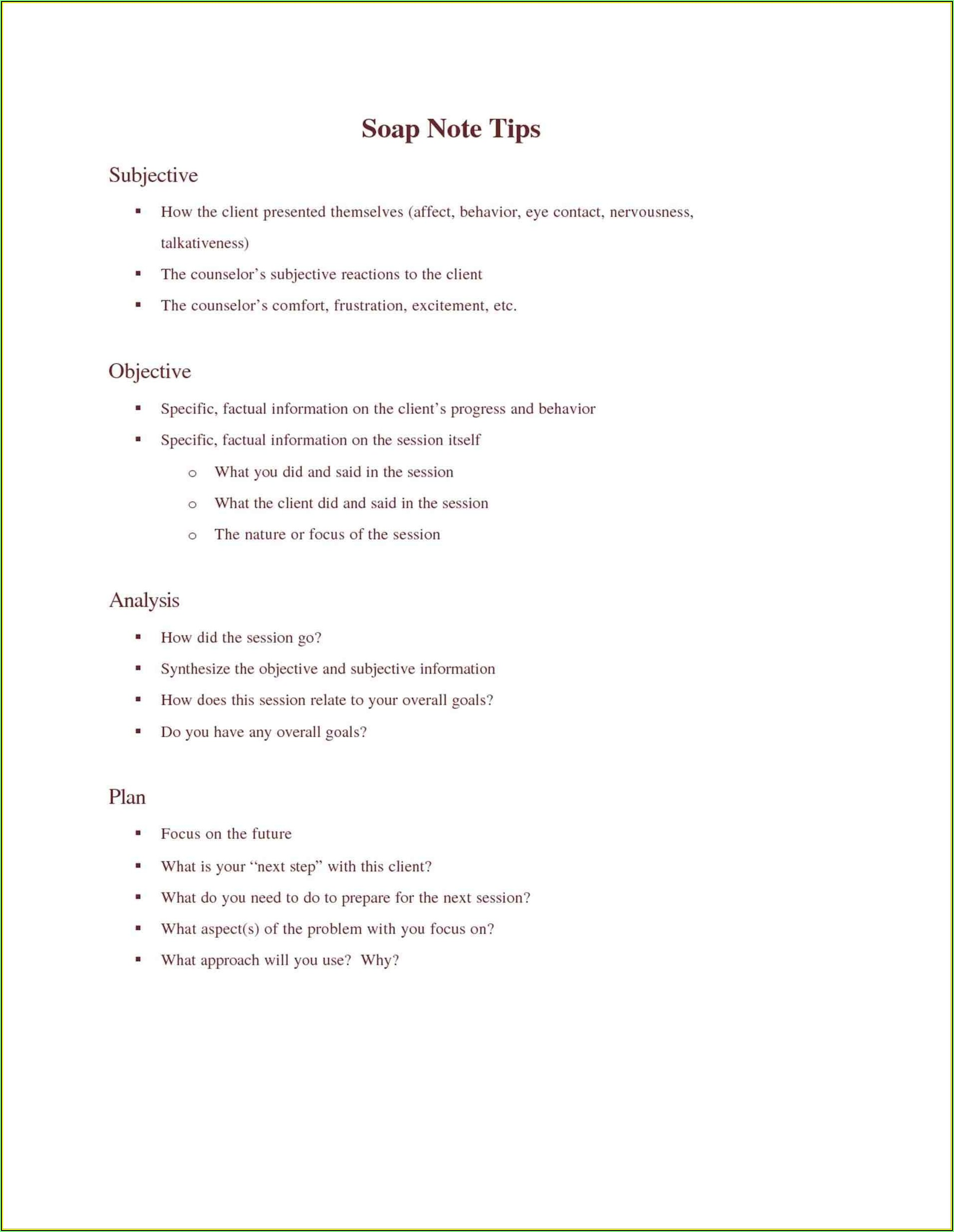 Psychotherapy Soap Notes Template