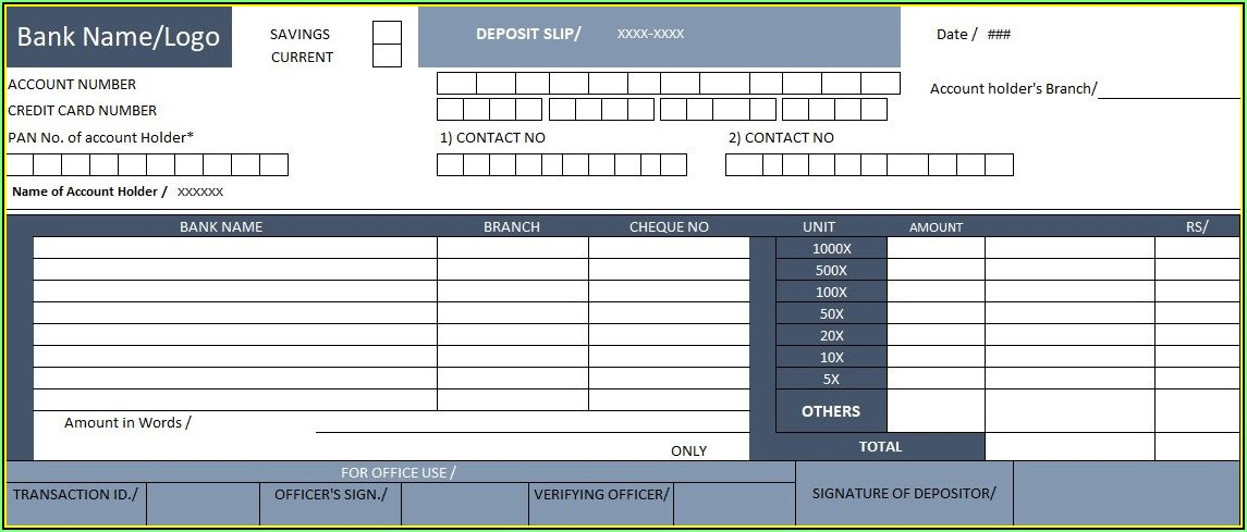 Quickbooks Bank Deposit Slip Template