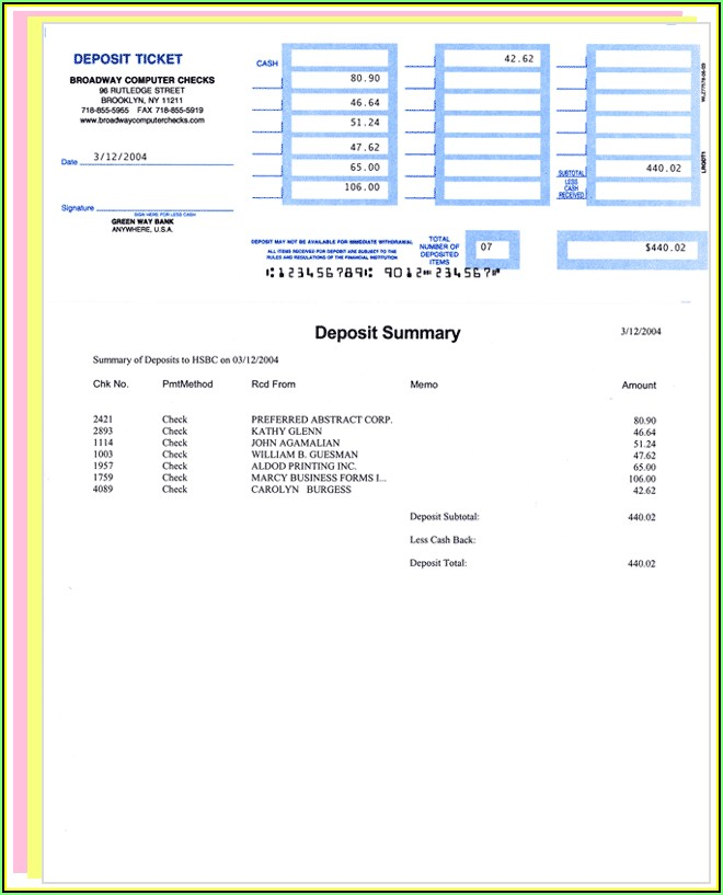 Quickbooks Online Deposit Slip Template