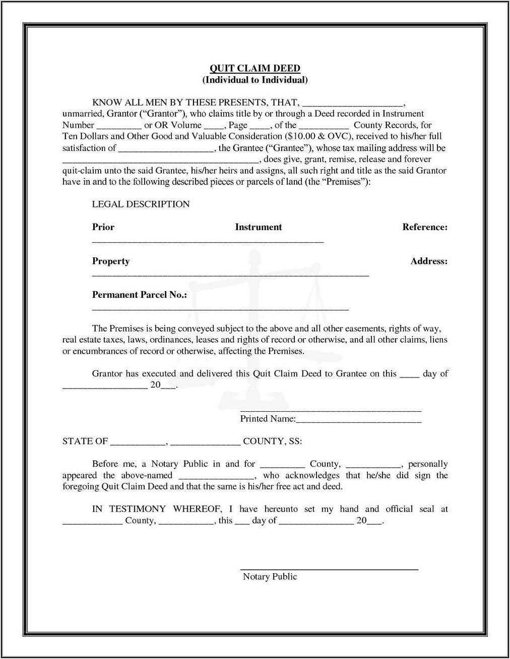 Quit Claim Deed Form Florida Pdf