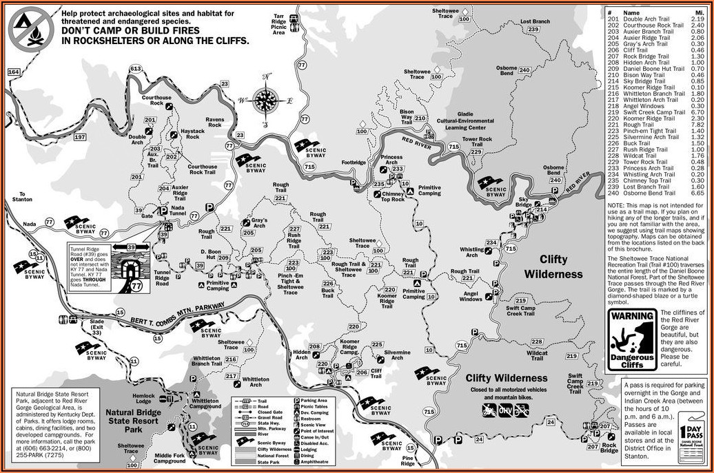 Red River Gorge Backpacking Trail Map