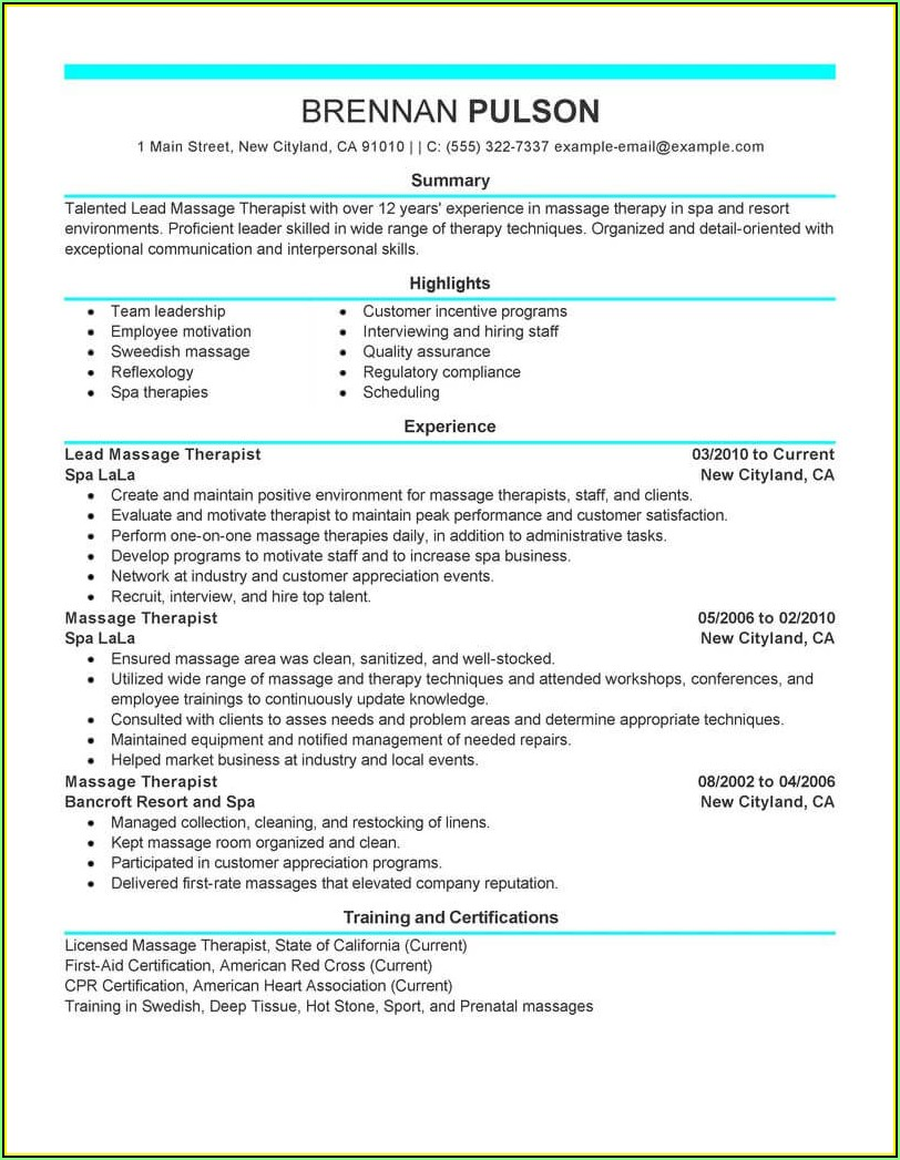 Remedial Massage Therapist Resume Template
