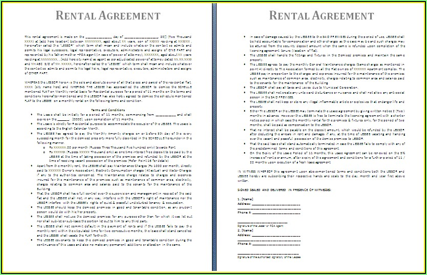Rental Agreements Forms