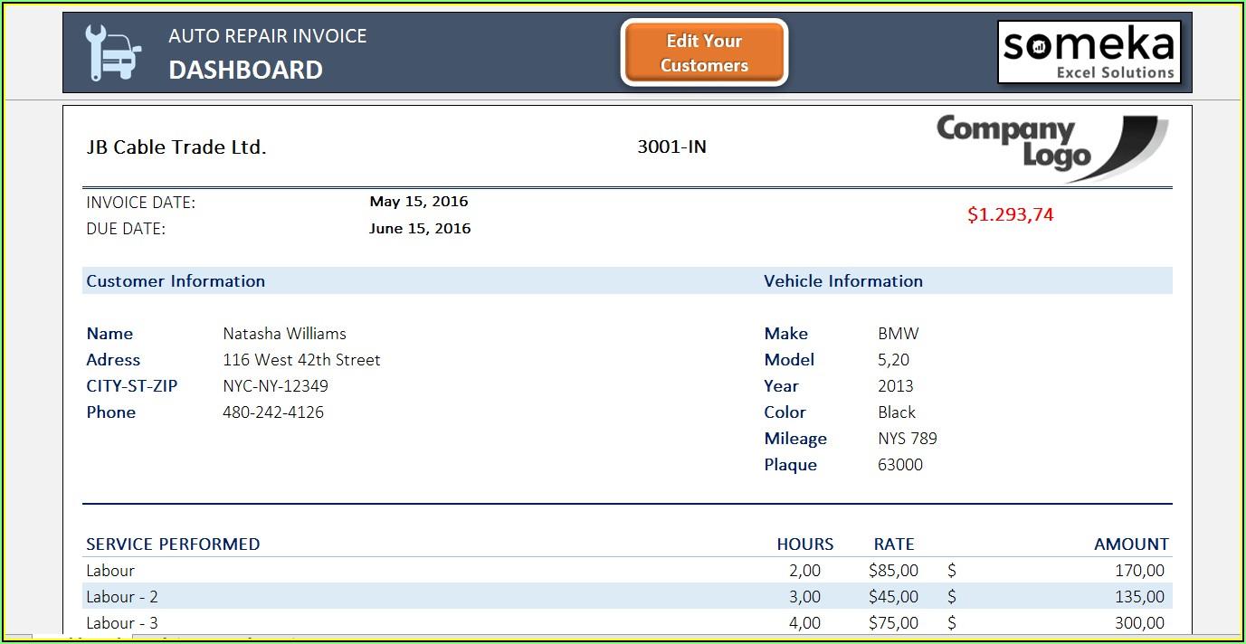 Repair Invoice Template Excel