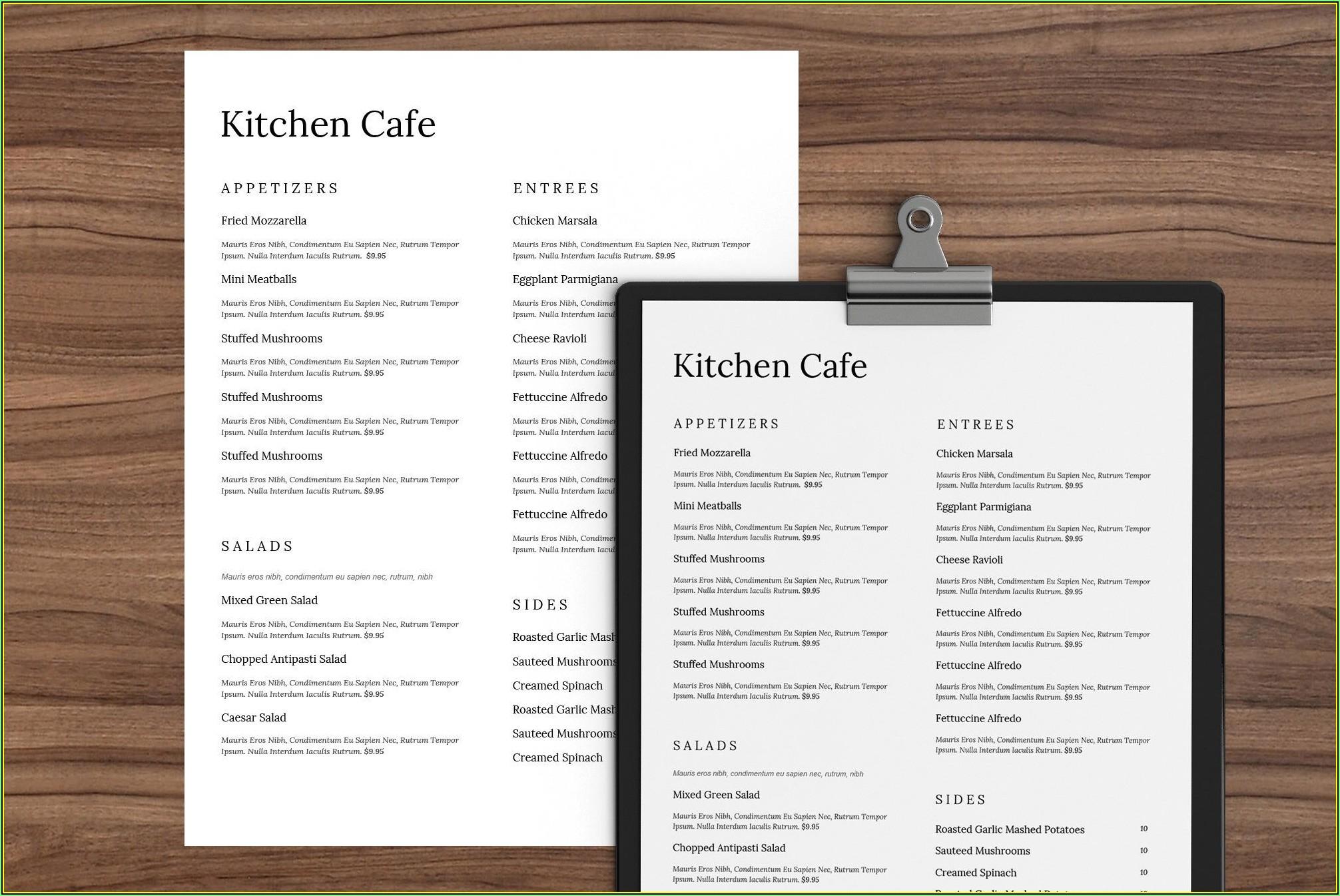 Restaurants Menu Template Word