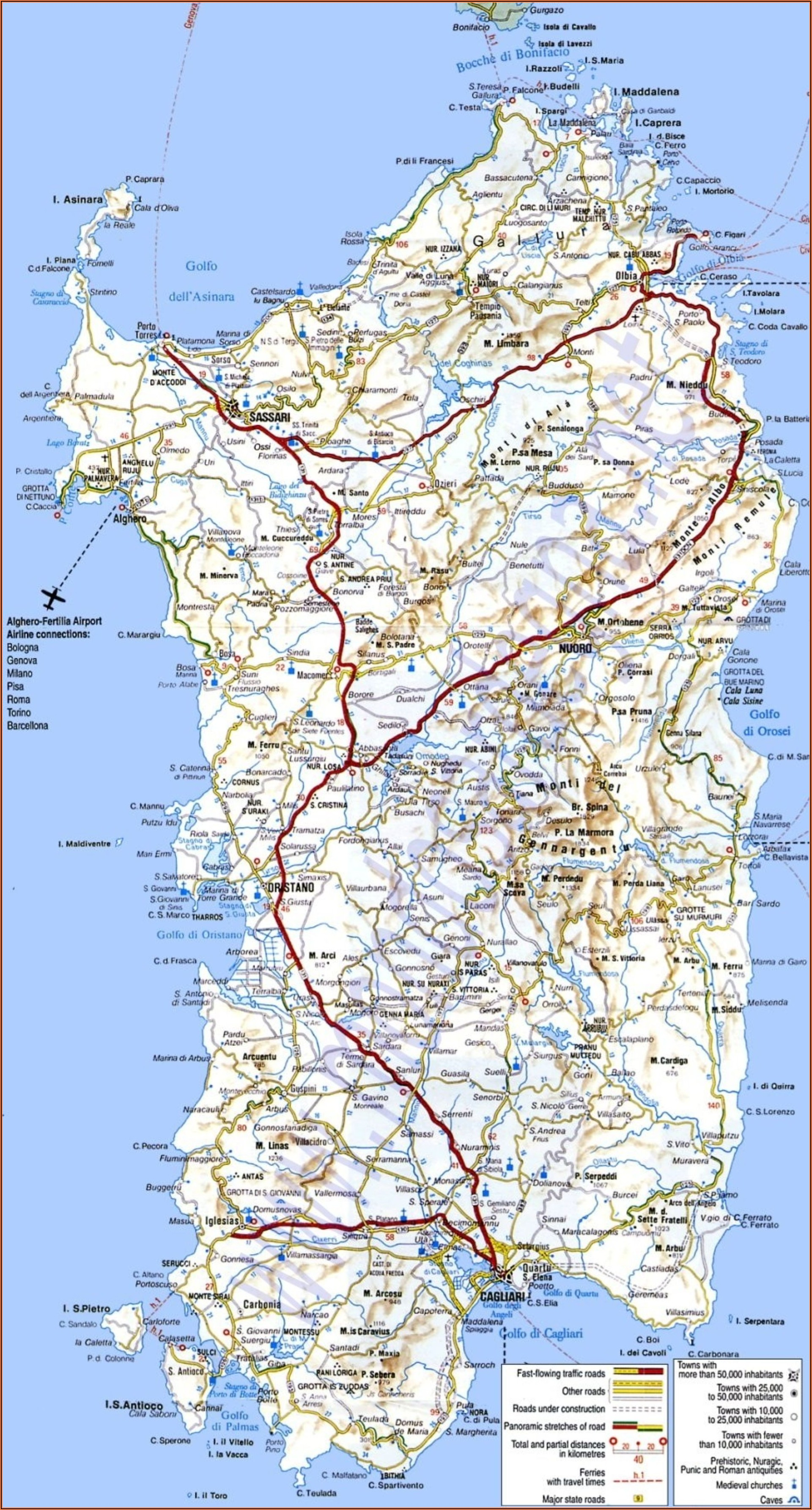Road Map Of Northern Sardinia