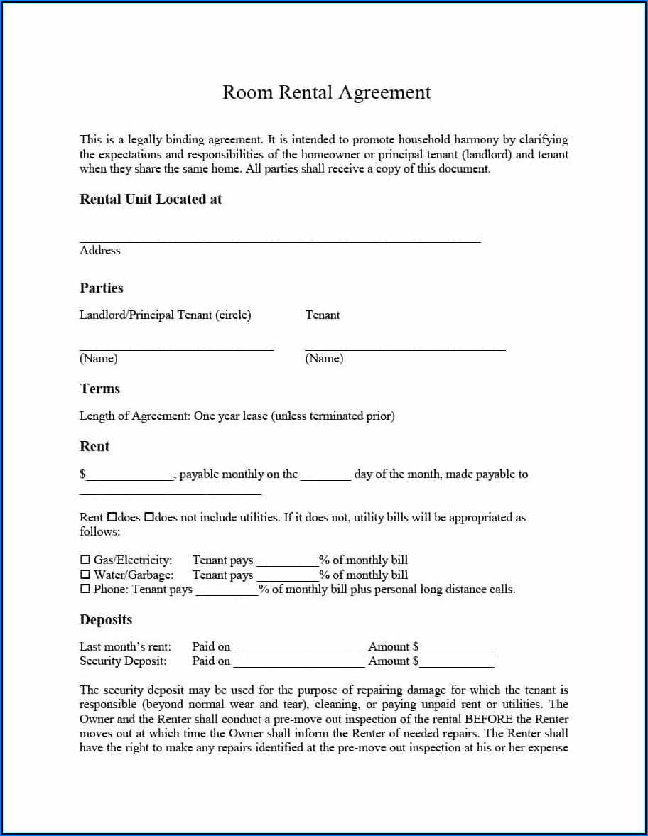 Room Letting Contract Template