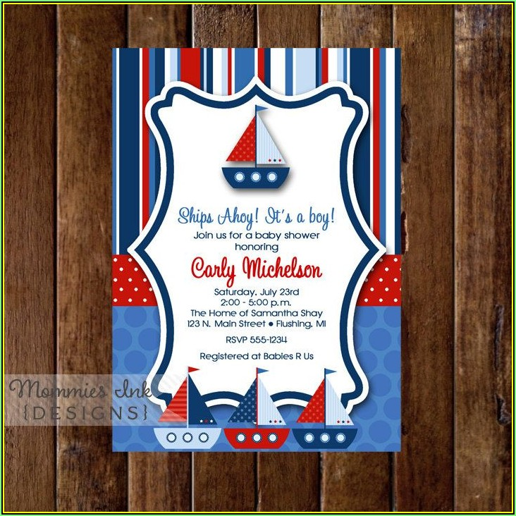 Sailboat Baby Shower Invitation Templates