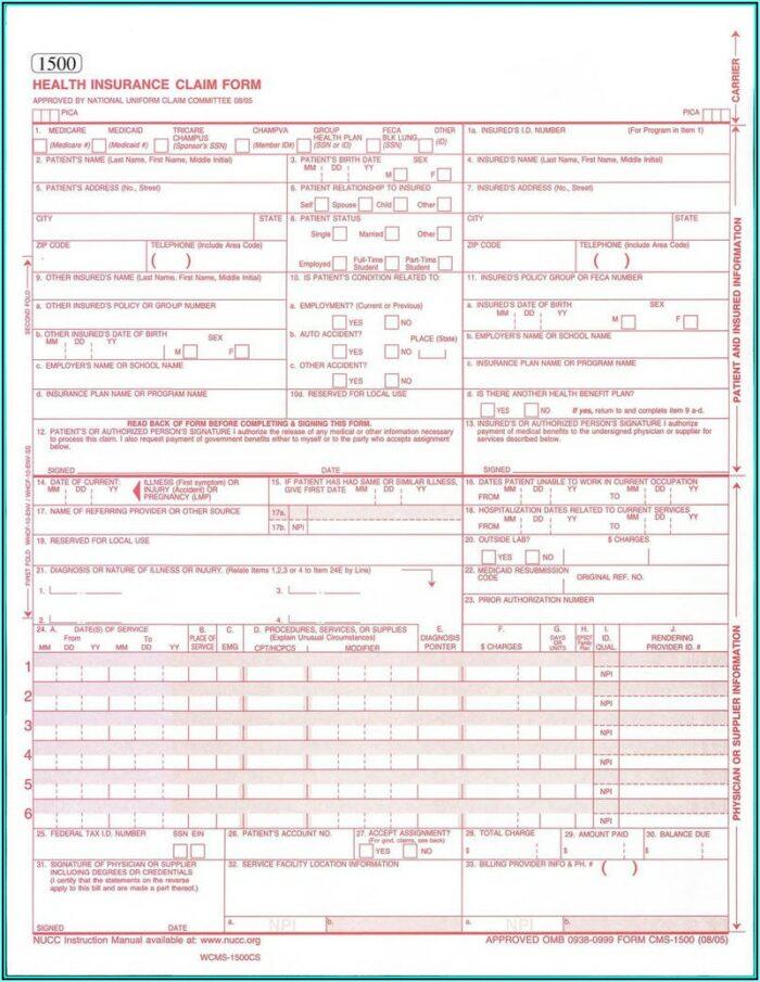 Sample Cms 1500 Claim Form