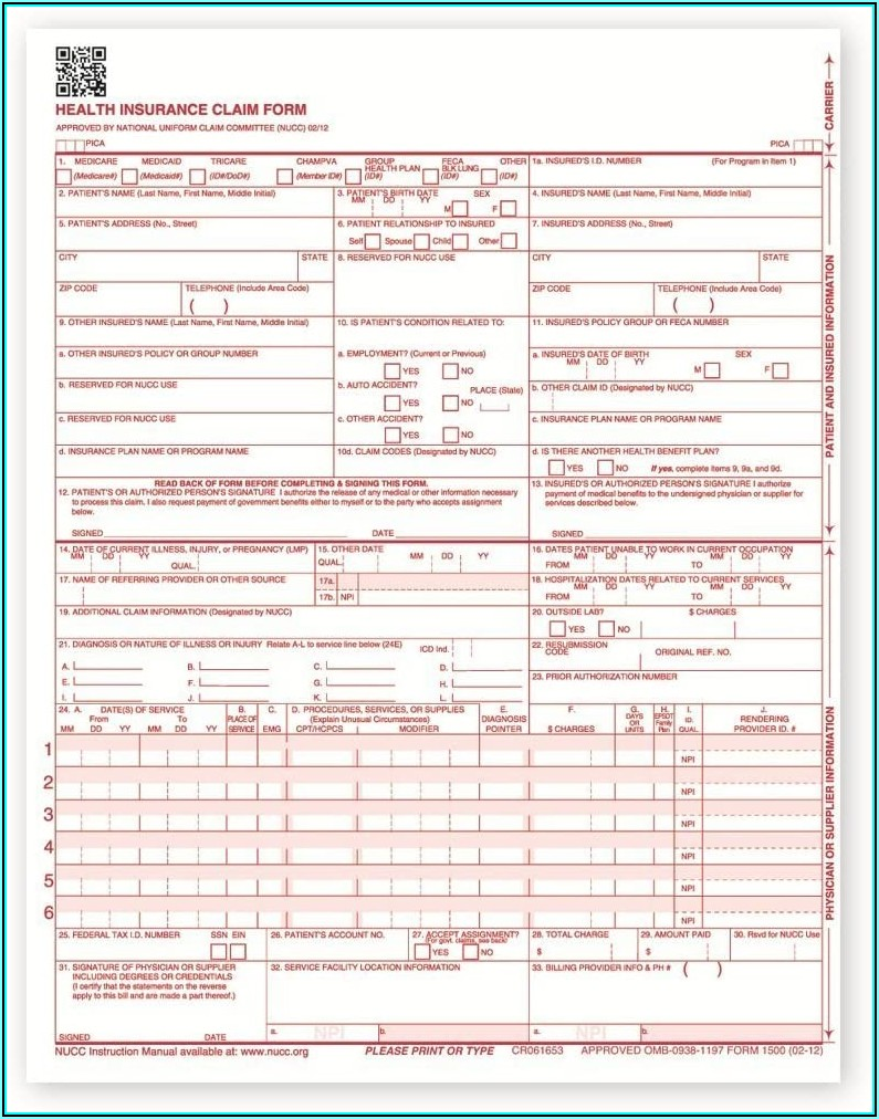 Sample Cms 1500 Form Filled Out Pdf