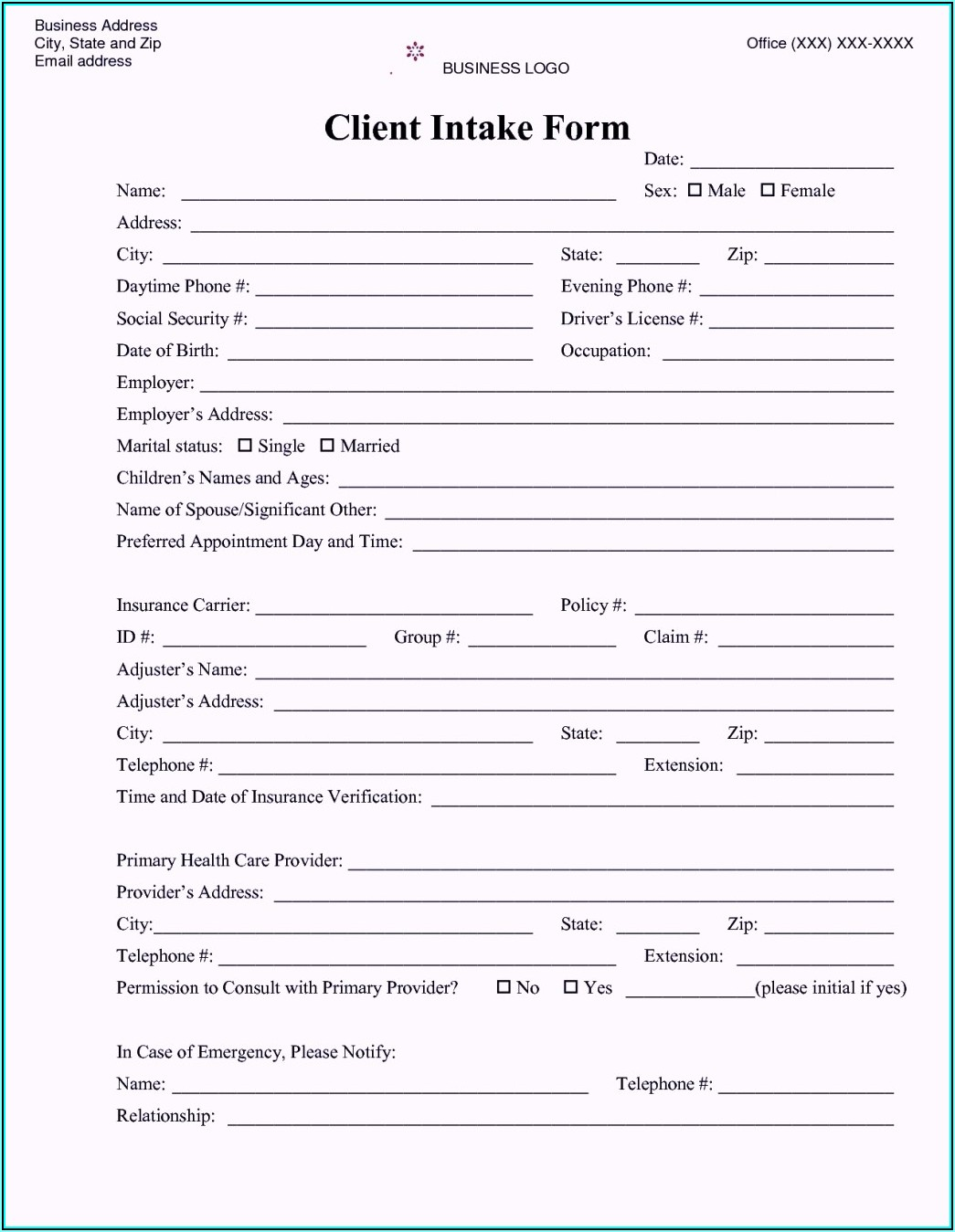 Sample Legal Client Intake Form