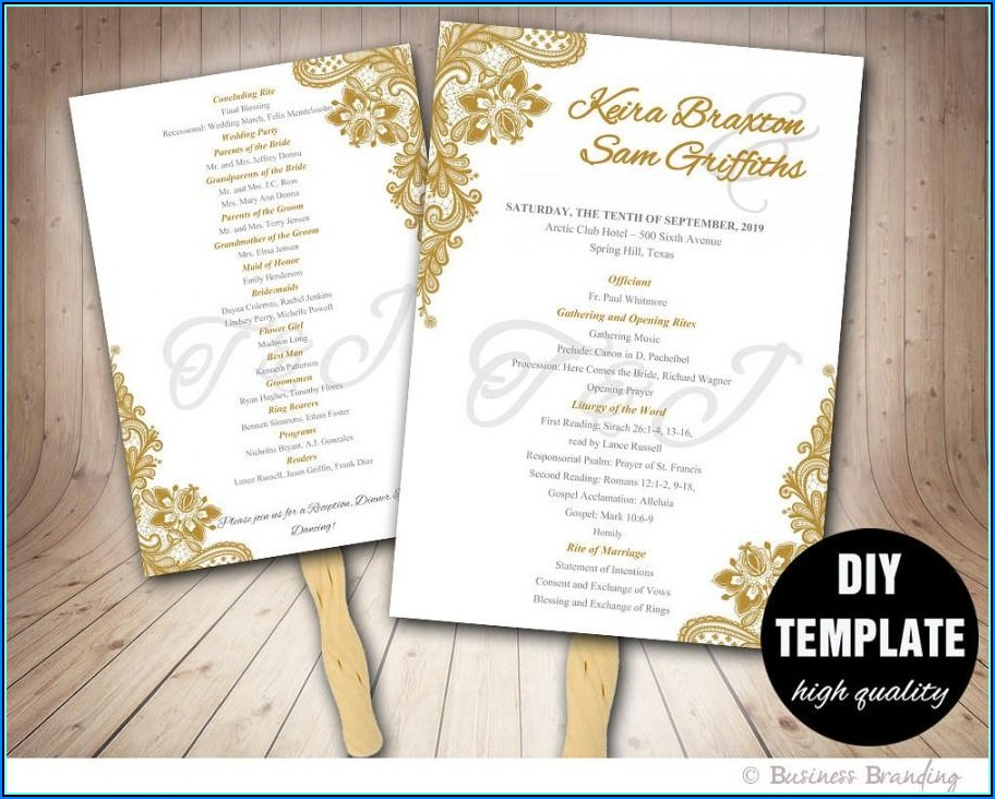 Sample Wedding Fan Programs Templates