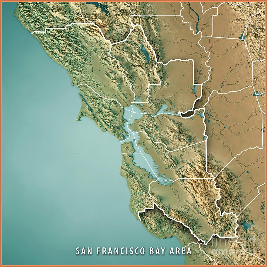 San Francisco Bay Area Topographic Map