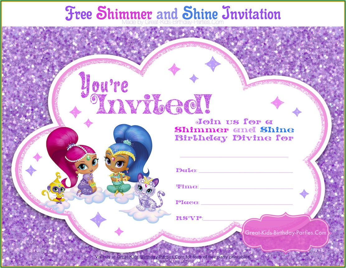 Shimmer And Shine Birthday Invite Template
