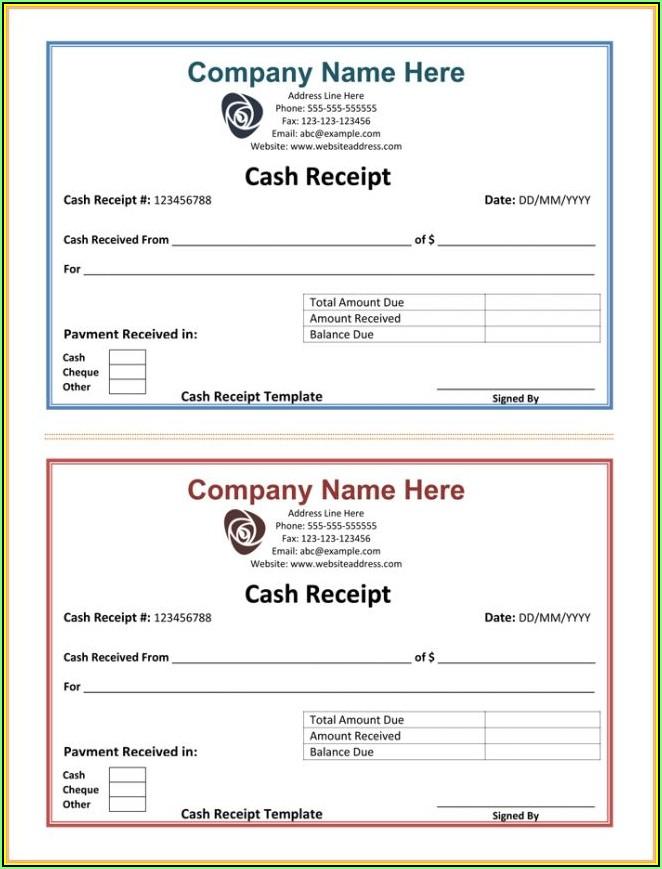 Simple Cash Receipt Forms