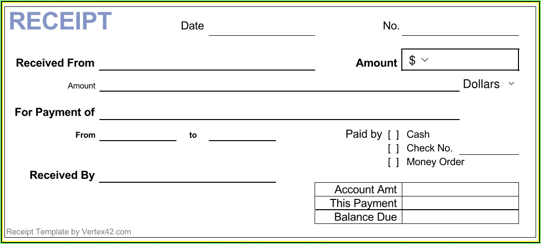 Simple Cash Receipt Template Uk