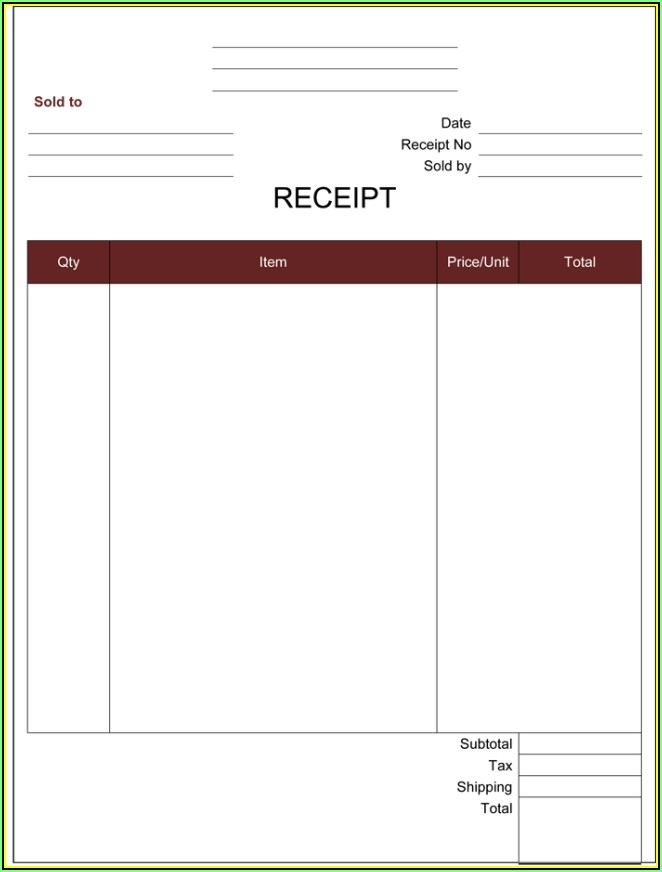 Simple Cash Receipt Template Word Doc