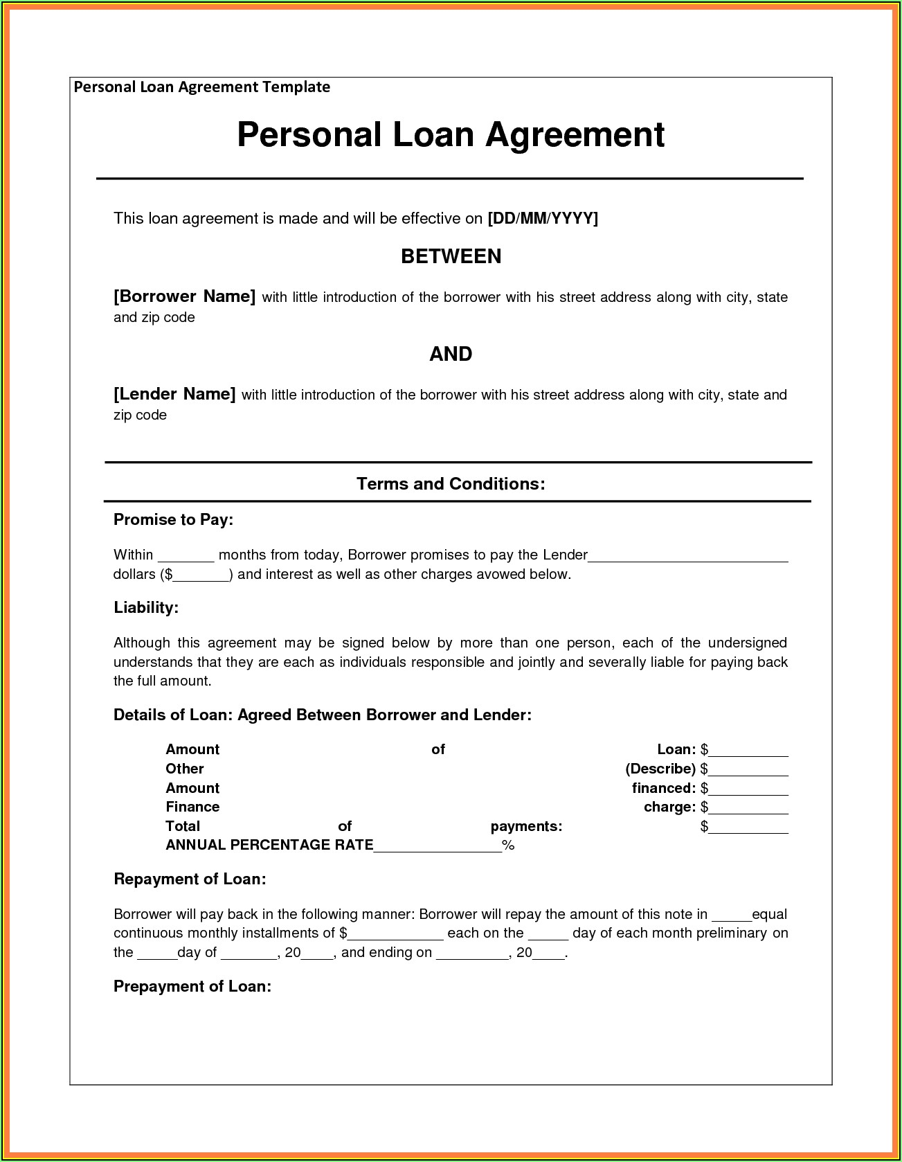 Simple Loan Agreement Template Uk