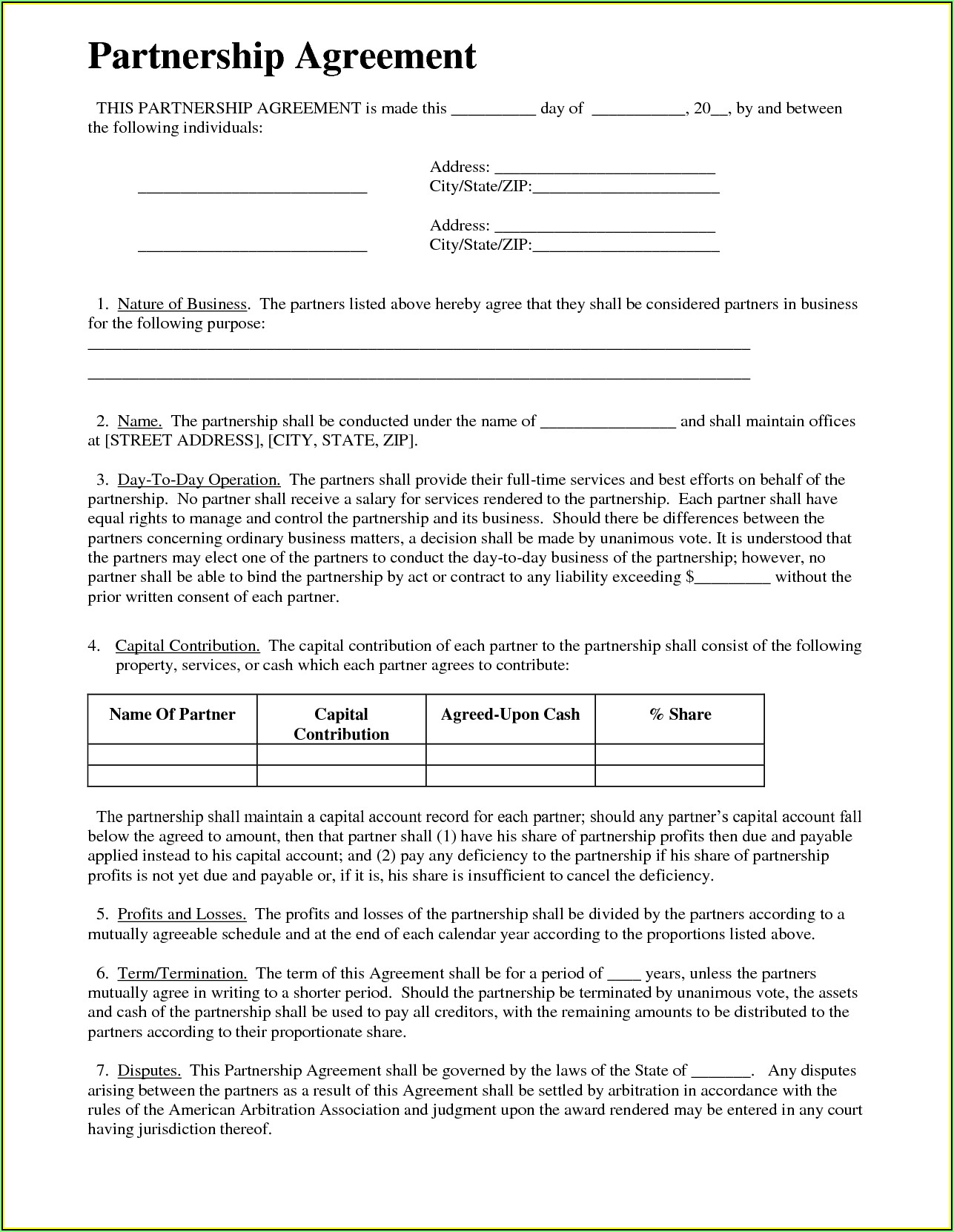 Simple Partnership Agreement Template Word