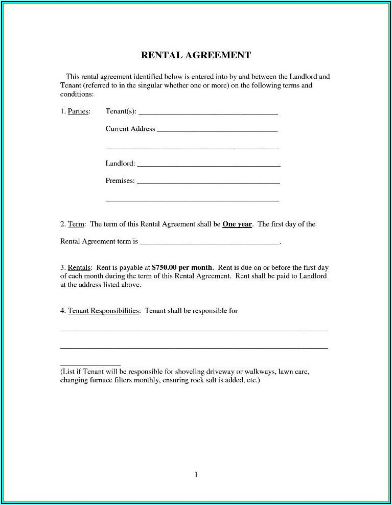 Simple Rent Agreement Contract