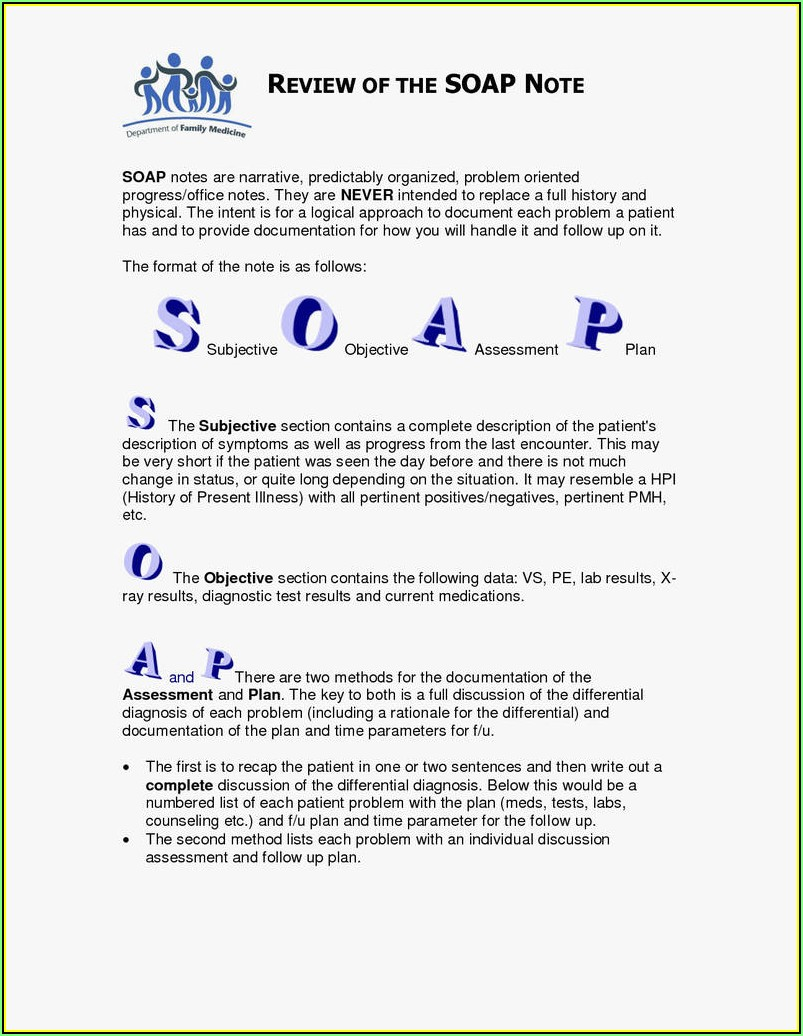 Soap Note Template Therapy
