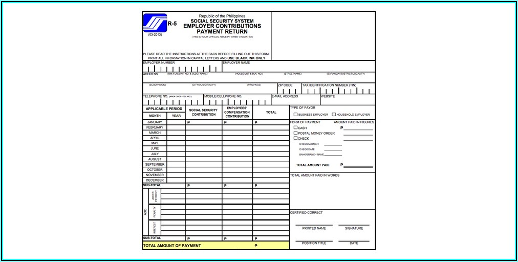Social Security System Printable Forms