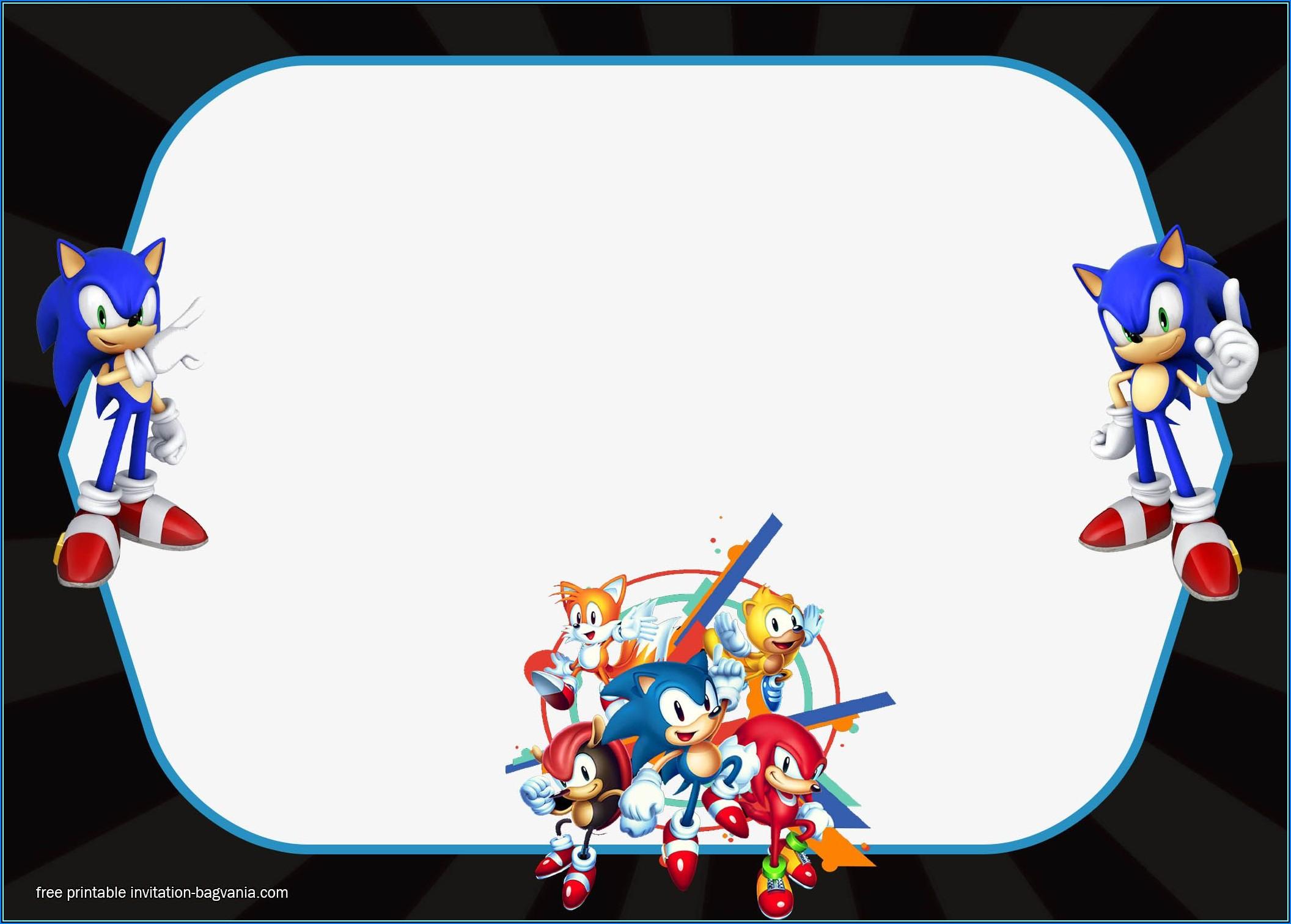 Sonic Birthday Invitation Templates