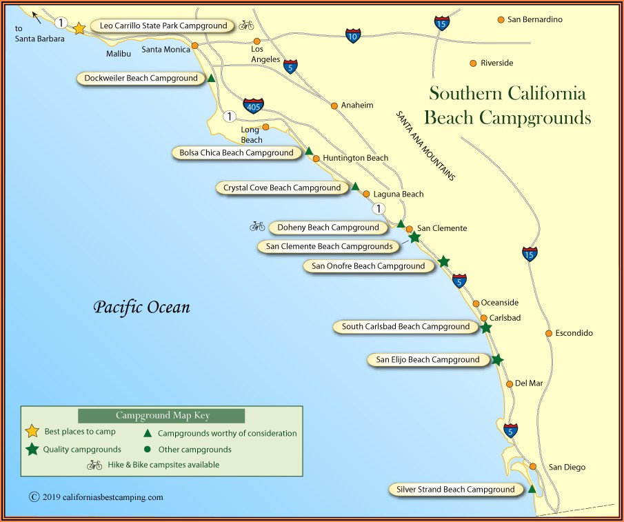 Southern California Rv Park Map