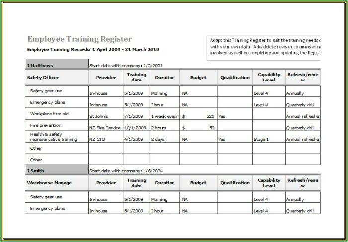 Staff Training Plan Template Excel
