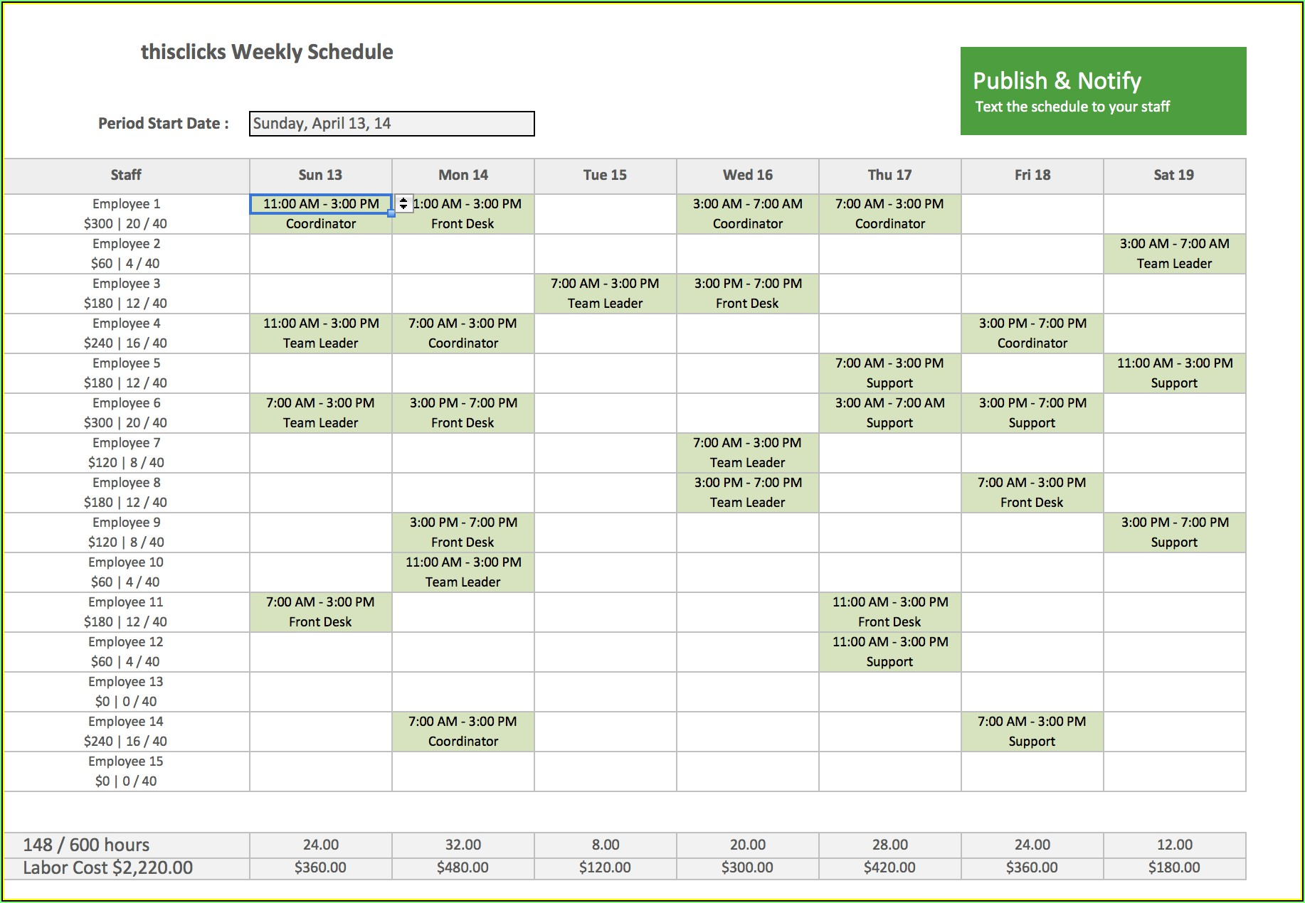 Staff Training Schedule Template Excel