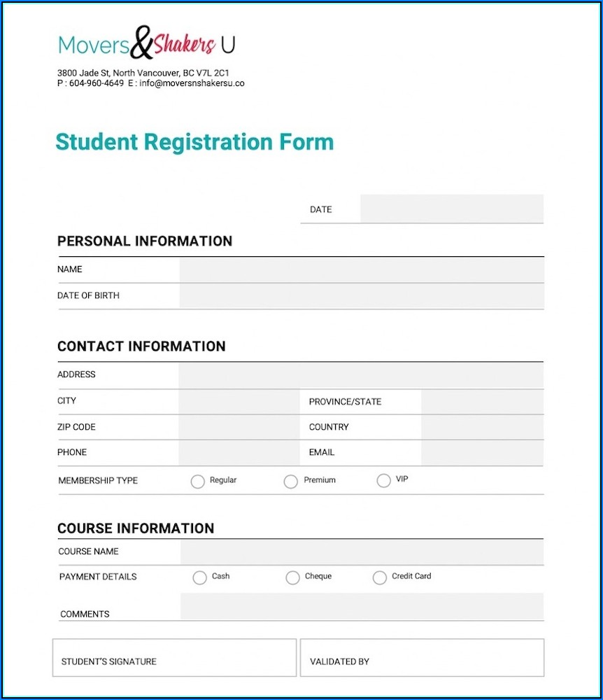 Student Registration Form Css Template Free Download