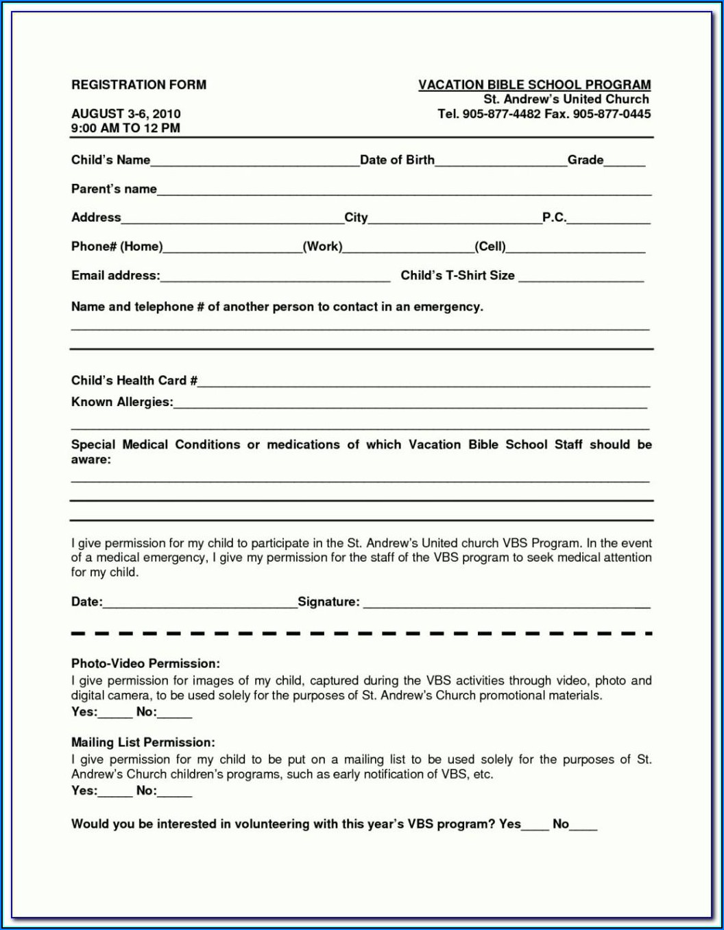 Student Registration Form Template Word Free Download