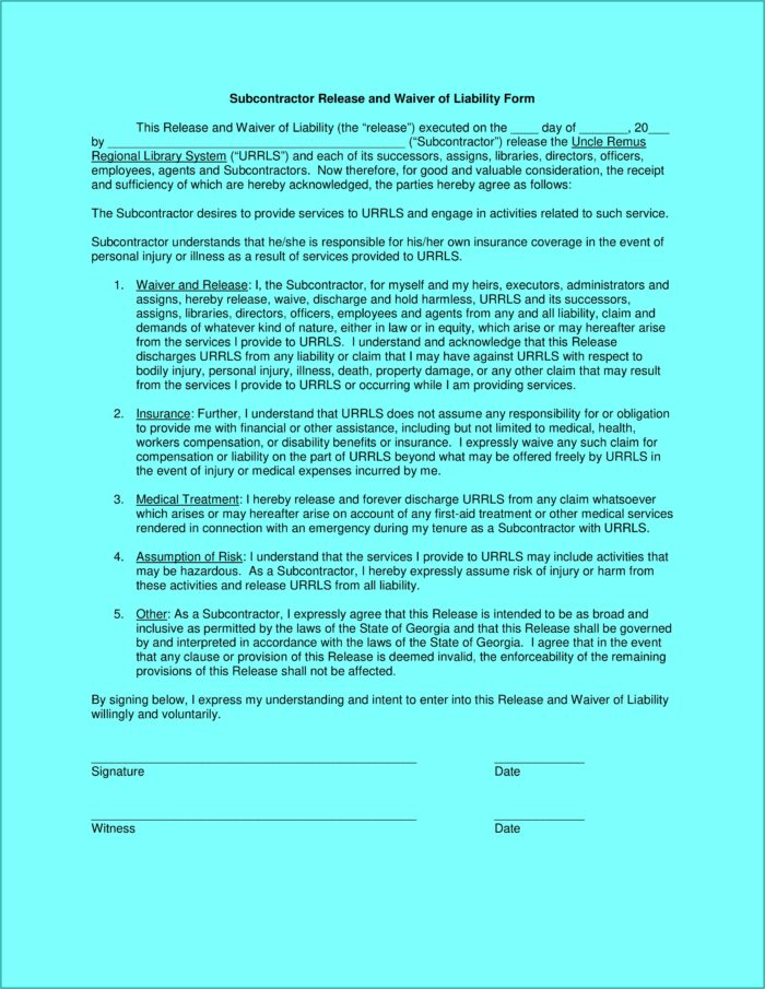 Subcontractor Workers Comp Waiver Form