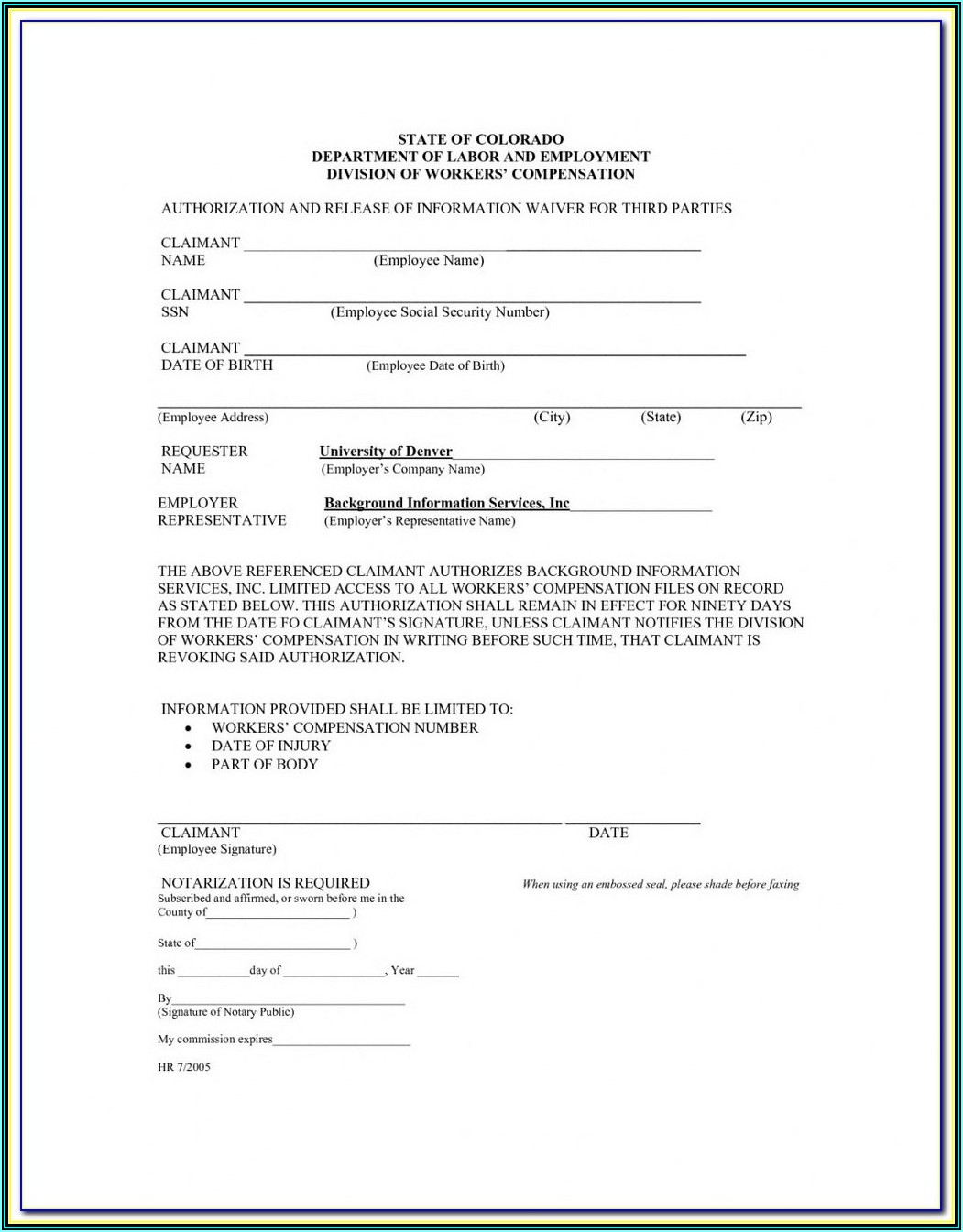 Subcontractor Workers Comp Waiver Form Texas