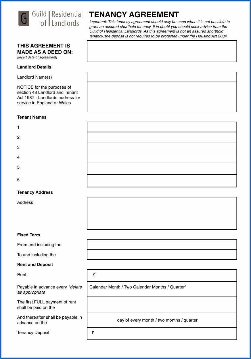 Subletting Tenancy Agreement Template Uk