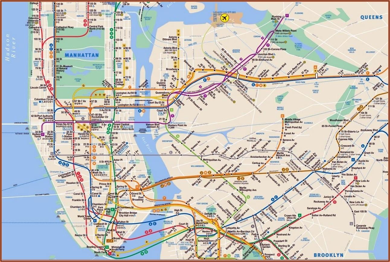 Subway Map Manhattan Nyc