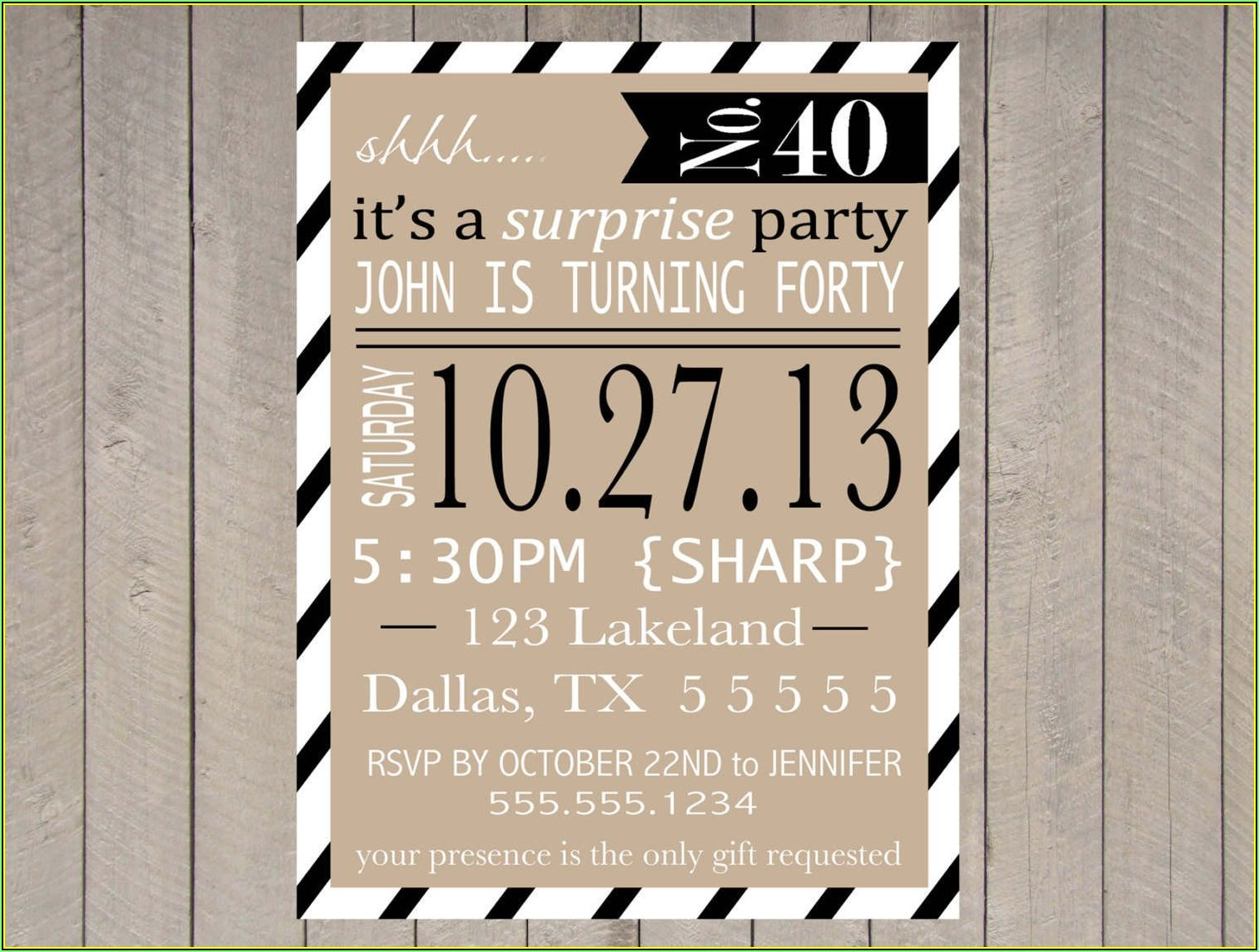 Surprise Party Invitations Templates Free