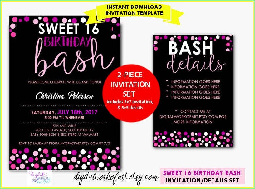 Sweet 16 Party Invitation Template