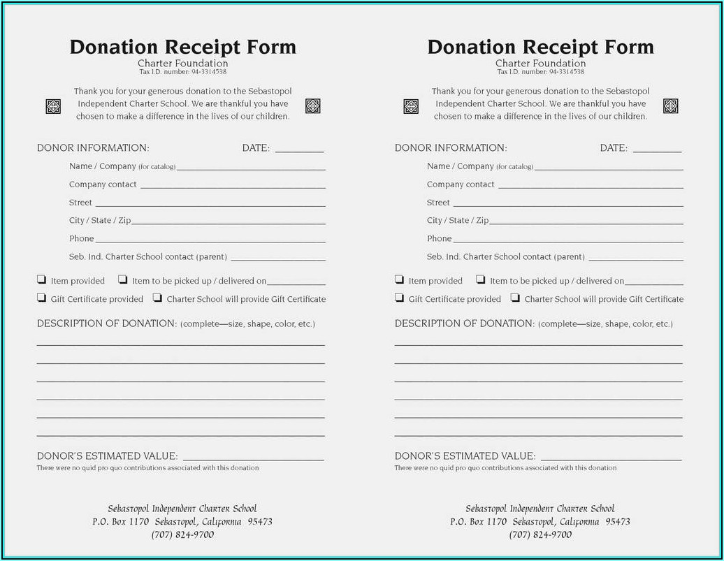 Tax Deduction Form For Donations