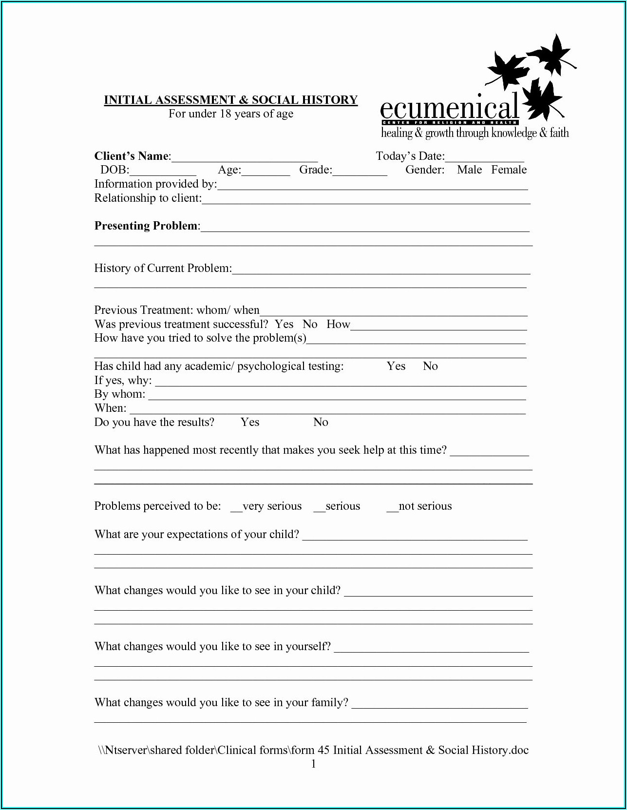 Tax Preparation Client Intake Form Template Pdf