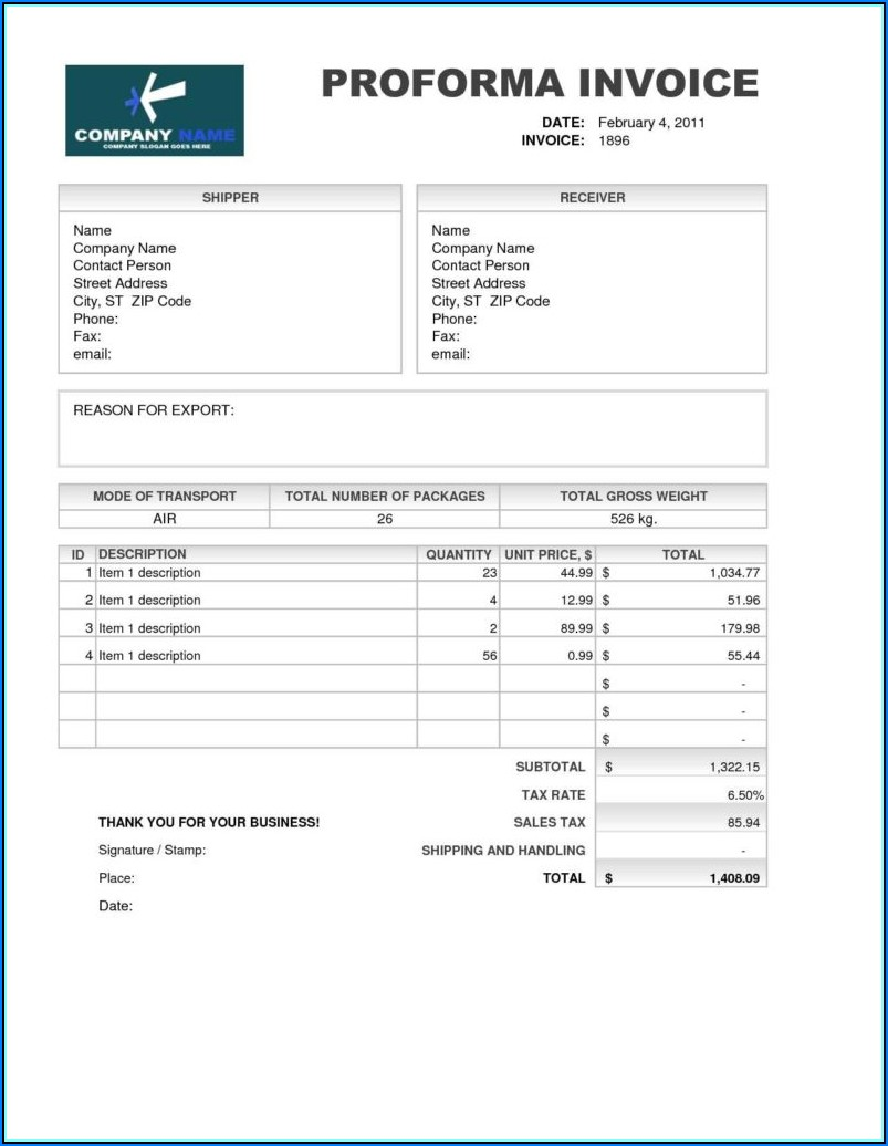 Template For Proforma Invoice Word