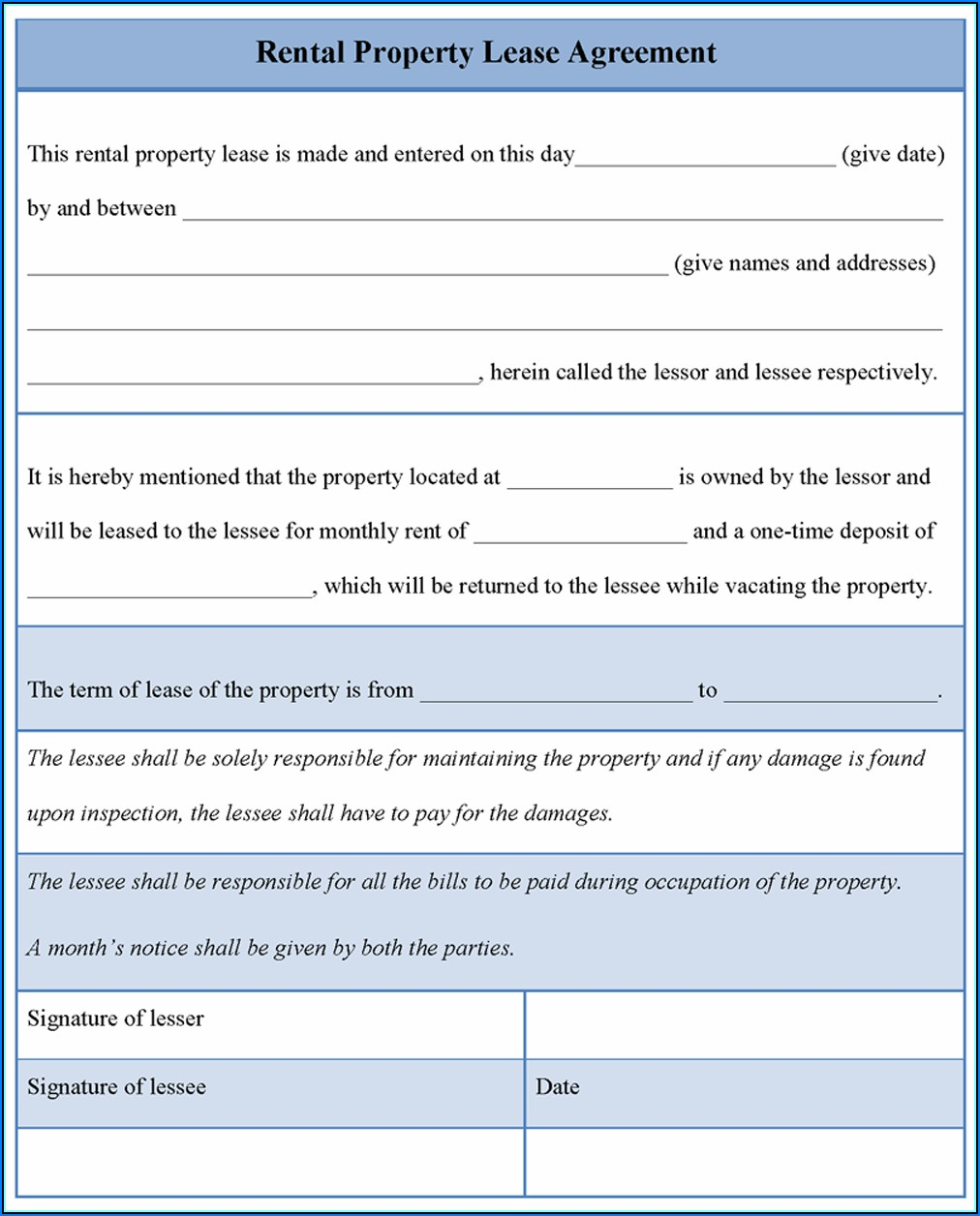 Template Of Lease Agreement For Property