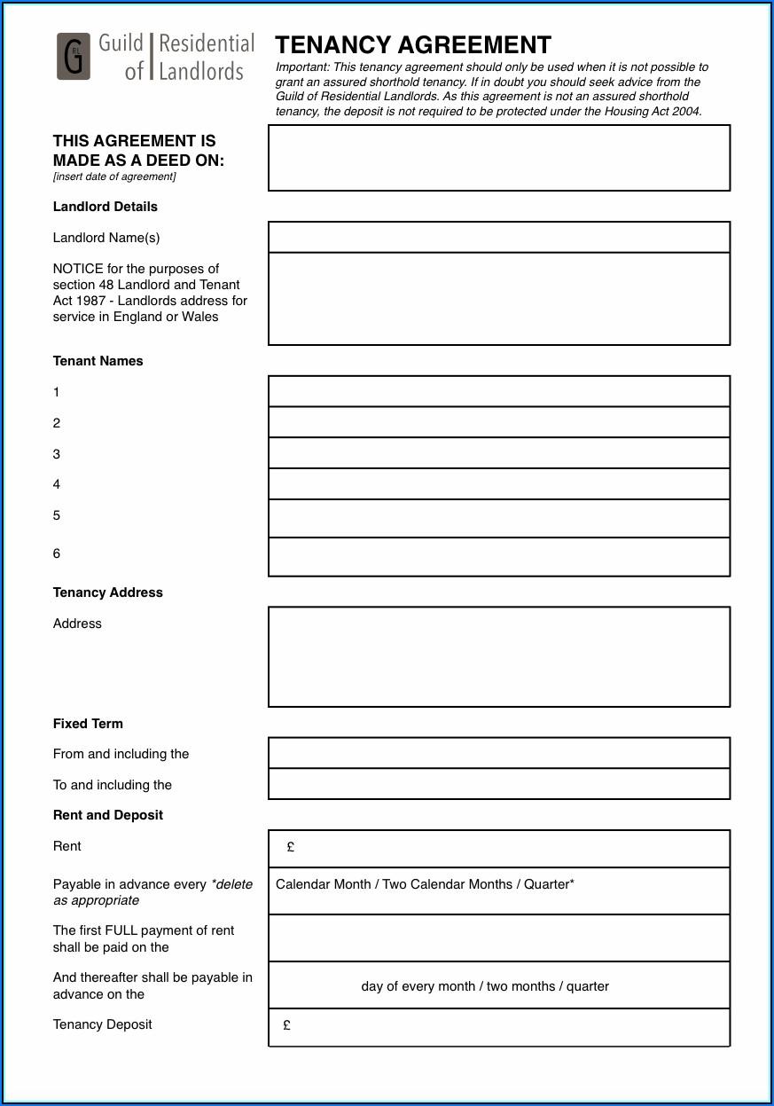 Tenancy Agreement Template Free Download Pdf Uk