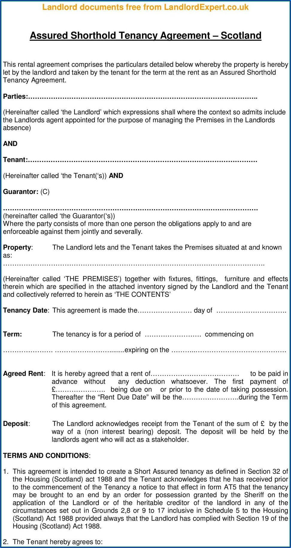 Tenancy Agreement Template Free Download Scotland