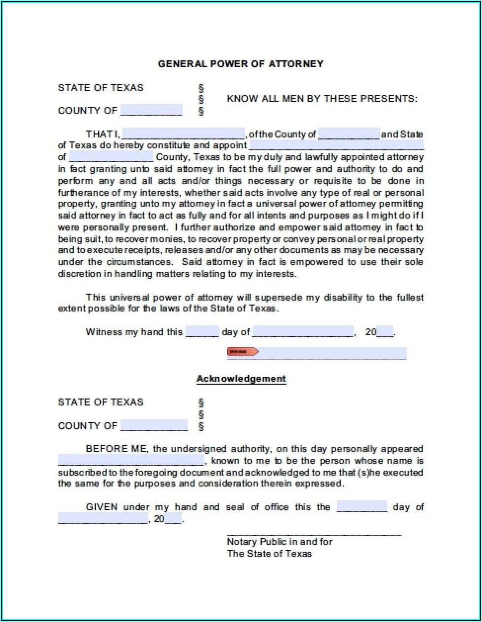 Texas General Power Of Attorney Form Pdf