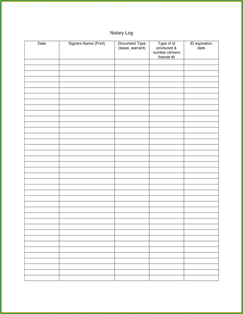 Texas Notary Journal Template